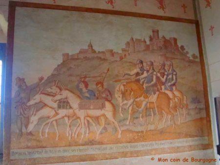 Tableau représentant une scène de chasse au château de Brancion