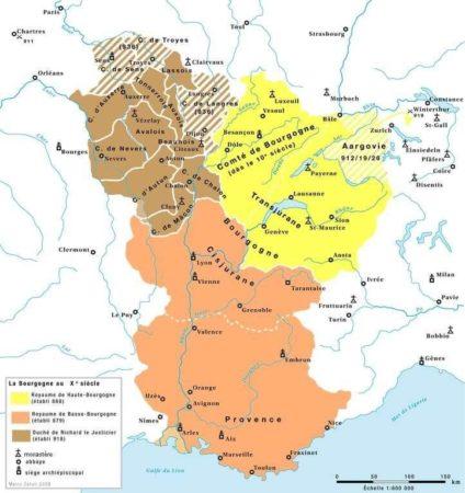 Carte de la Bourgogne au Xe siècle