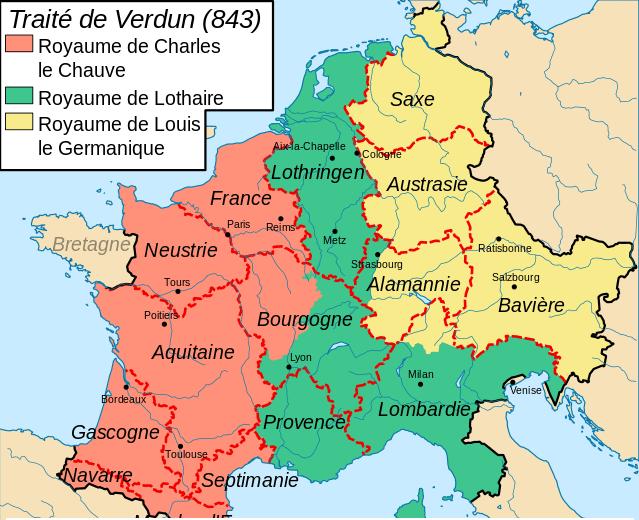 Carte du partage de Verdun en 843