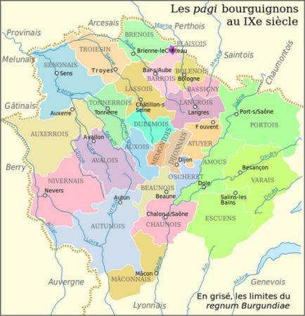 Carte des Pagis bourguignons au IXe siècle