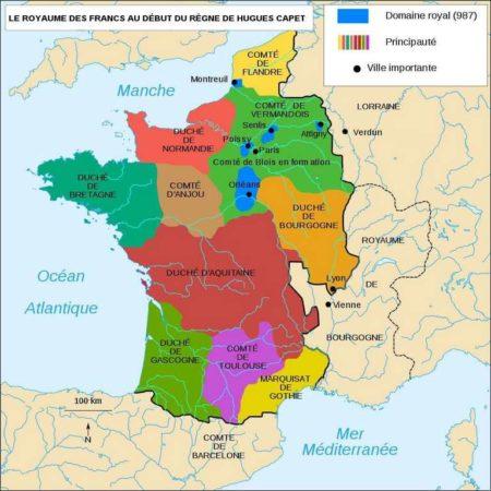 Carte du Royaume franc en 987