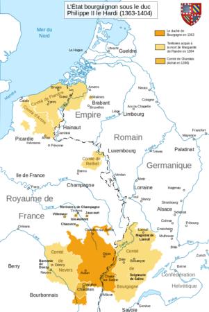 carte historique de l'État bourguignon de 1363 à1404