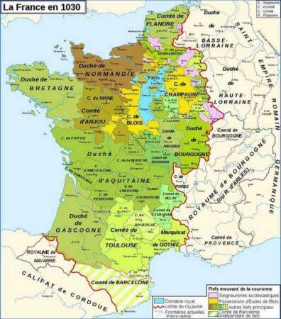 carte de la France en 1030