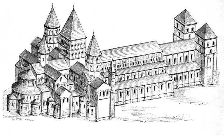 Reconstitution de l'abbatiale de Cluny (dessin)