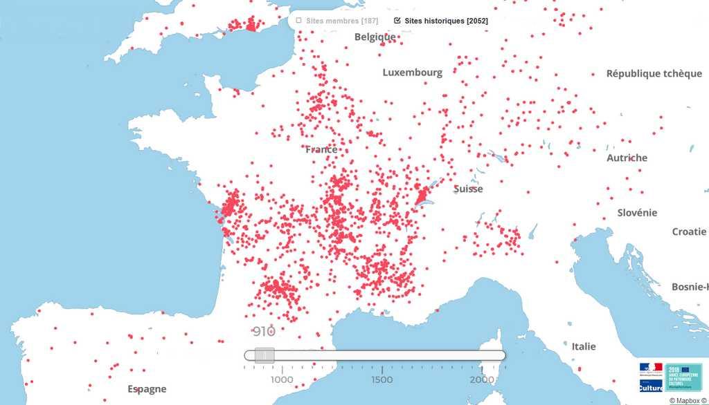 carte des sites clunisiens historiques en Europe